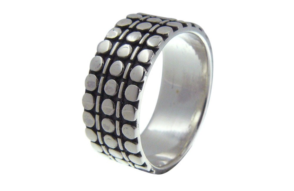 bague motif triple en argent pour homme bijoux homme. Black Bedroom Furniture Sets. Home Design Ideas